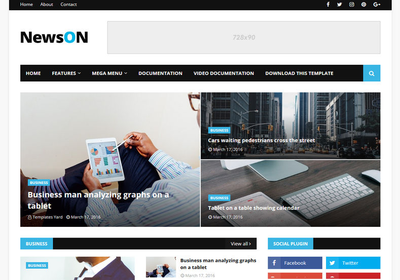 NewsOn-Blogger-Template