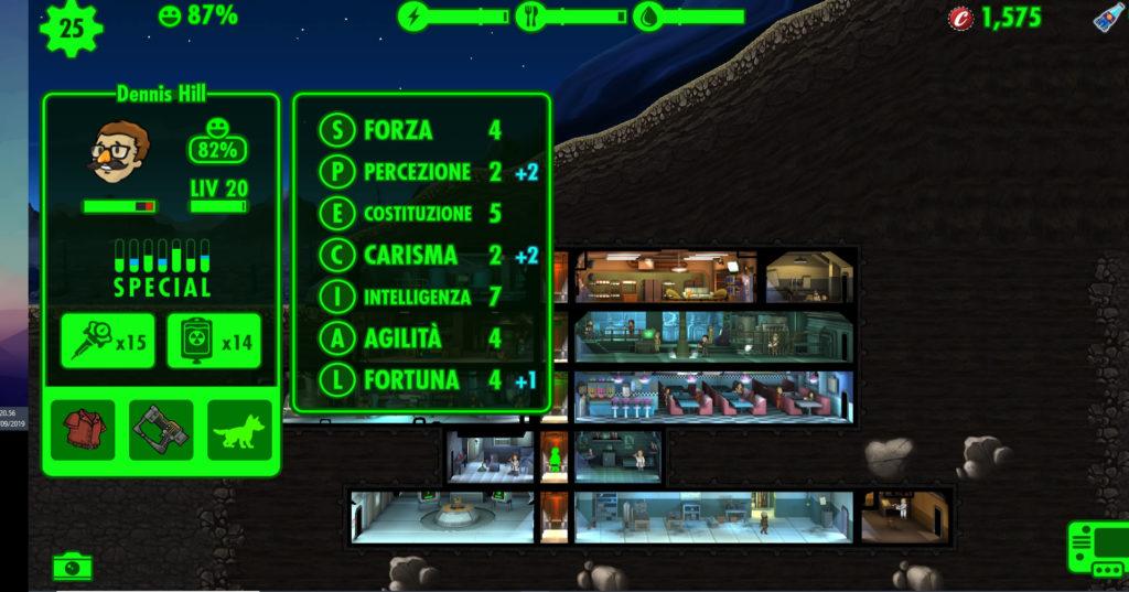 Fallout Shelter caratteristiche S.P.E.C.I.A.L